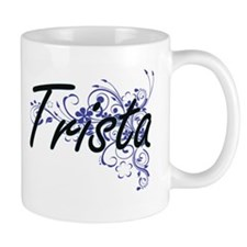 Trista Artistic Name Design with Flowers Mugs