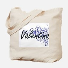 Valentina Artistic Name Design with Flowe Tote Bag