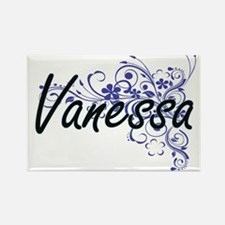Vanessa Artistic Name Design with Flowers Magnets
