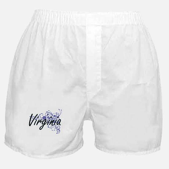 Virginia Artistic Name Design with Fl Boxer Shorts