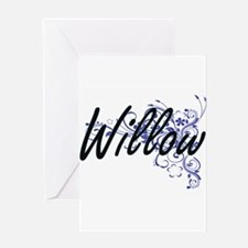 Willow Artistic Name Design with Fl Greeting Cards
