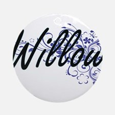 Willow Artistic Name Design with Fl Round Ornament