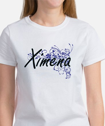 Ximena Artistic Name Design with Flowers T-Shirt