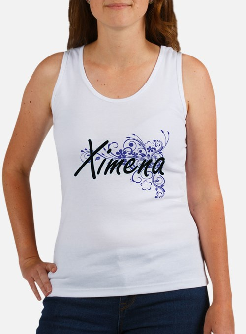Ximena Artistic Name Design with Flowers Tank Top