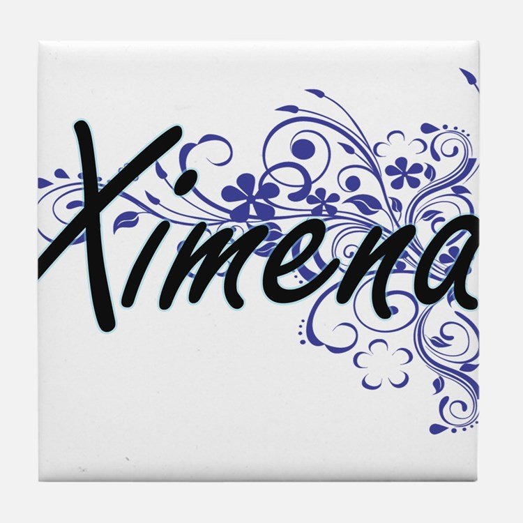 Ximena Artistic Name Design with Flow Tile Coaster