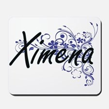 Ximena Artistic Name Design with Flowers Mousepad