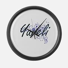 Yareli Artistic Name Design with Large Wall Clock