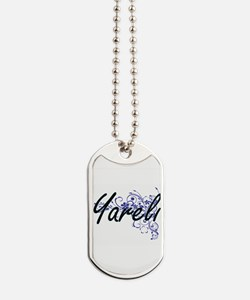 Yareli Artistic Name Design with Flowers Dog Tags