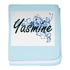 Yasmine Artistic Name Design with Flo baby blanket