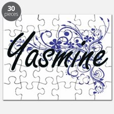Yasmine Artistic Name Design with Flowers Puzzle