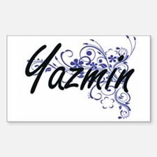 Yazmin Artistic Name Design with Flowers Decal