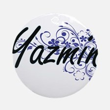 Yazmin Artistic Name Design with Fl Round Ornament