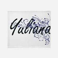 Yuliana Artistic Name Design with Fl Throw Blanket