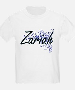 Zariah Artistic Name Design with Flowers T-Shirt