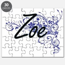 Zoe Artistic Name Design with Flowers Puzzle
