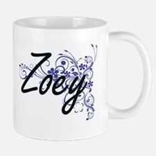 Zoey Artistic Name Design with Flowers Mugs