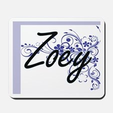 Zoey Artistic Name Design with Flowers Mousepad