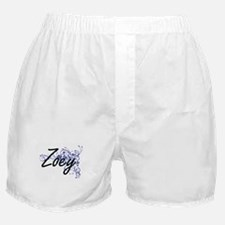 Zoey Artistic Name Design with Flower Boxer Shorts