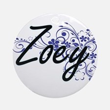 Zoey Artistic Name Design with Flow Round Ornament
