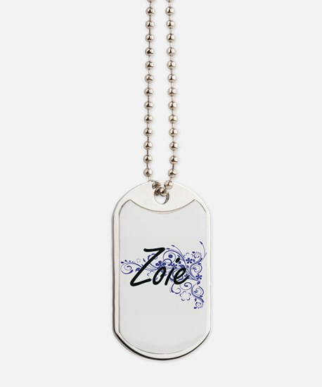 Zoie Artistic Name Design with Flowers Dog Tags