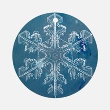 Blue Watercolor Snowflake Round Ornament
