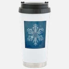Blue Watercolor Snowfla Stainless Steel Travel Mug
