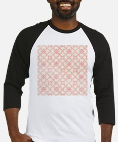 Pink and Cream Floral Damask Baseball Jersey