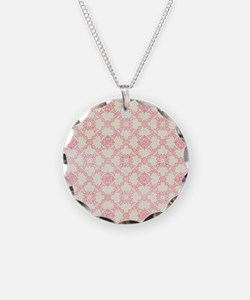 Pink and Cream Floral Damask Necklace