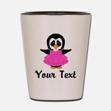 Personalizable Pink Penguin Party Dress Shot Glass