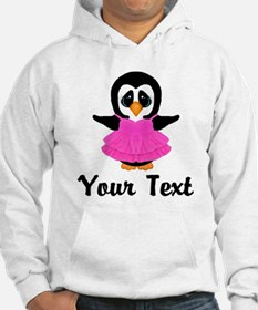 Personalizable Pink Penguin Party Dress Hoodie