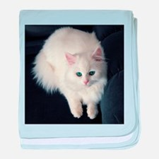 White Cat with Blue Eyes baby blanket