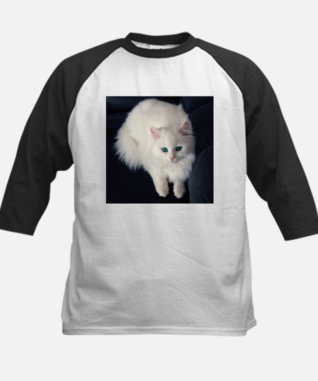 White Cat with Blue Eyes Baseball Jersey