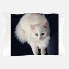 White Cat with Blue Eyes Pillow Case