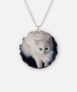 White Cat with Blue Eyes Necklace
