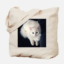 White Cat with Blue Eyes Tote Bag