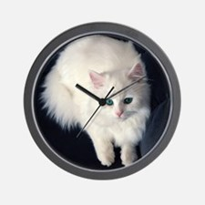 White Cat with Blue Eyes Wall Clock