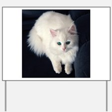 White Cat with Blue Eyes Yard Sign