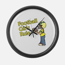 Football Girls Rule Large Wall Clock