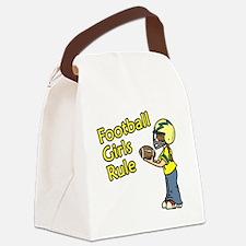Football Girls Rule Canvas Lunch Bag