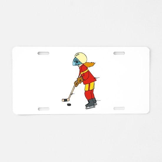 Girl Ice Hockey Player Aluminum License Plate