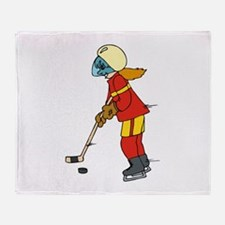 Girl Ice Hockey Player Throw Blanket