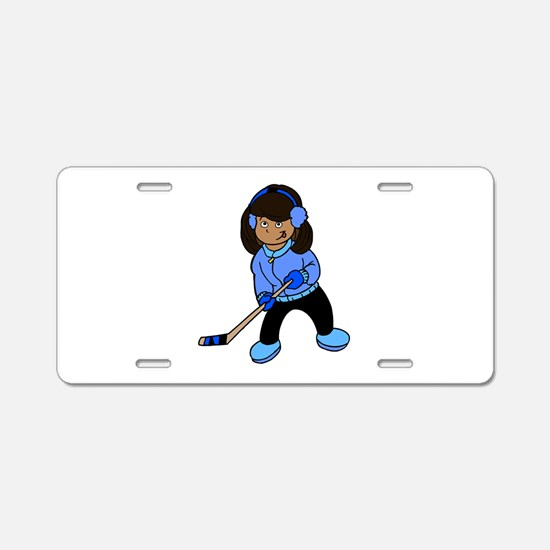 Black Hockey Girl Aluminum License Plate