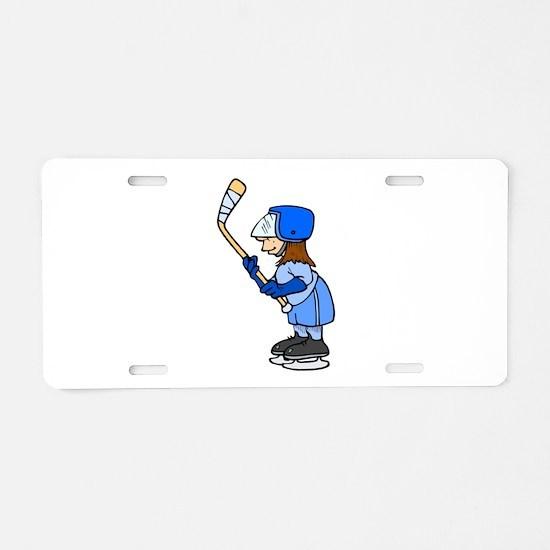 Ice Hockey Chick Aluminum License Plate