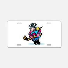 Blonde Hockey Girl Aluminum License Plate