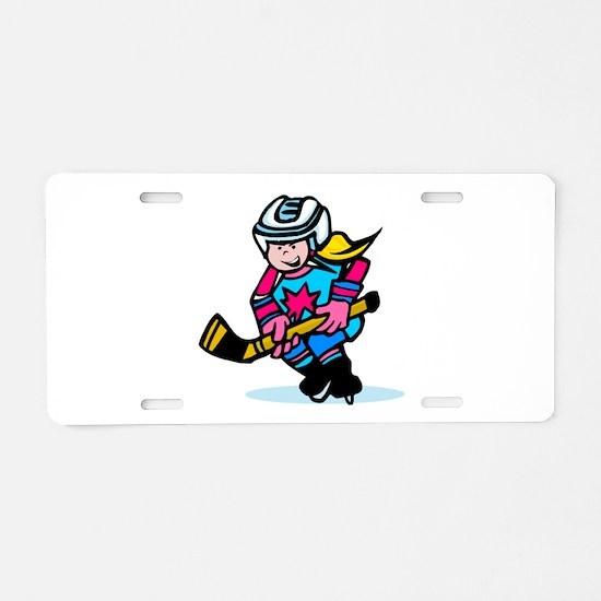 Blonde Hockey Girl Aluminum License Plate