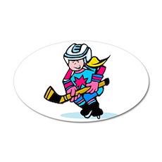 Blonde Hockey Girl 20x12 Oval Wall Decal