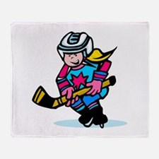 Blonde Hockey Girl Throw Blanket