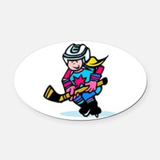 Blonde Hockey Girl Oval Car Magnet