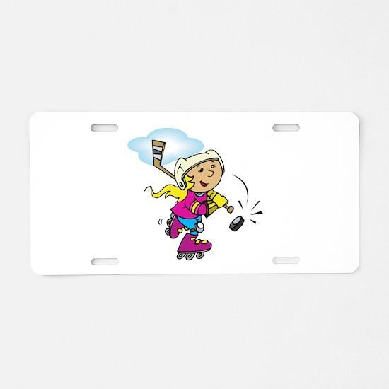 Cute Hockey Girl Aluminum License Plate