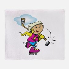 Cute Hockey Girl Throw Blanket